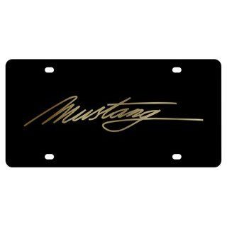 Ford Mustang Script License Plate on Black Steel