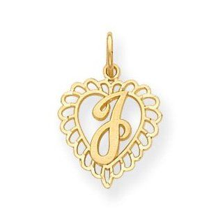 14k Initial J Charm   Measures 22.4x15mm   JewelryWeb Jewelry