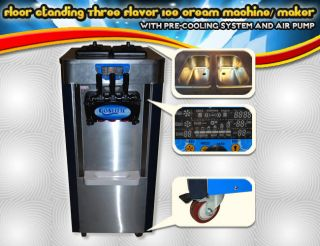 Commercial Ice Cream Machine 3 Head Soft Serve Maker Factory Direct