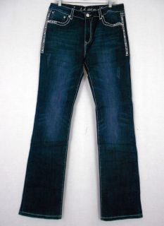 Women Plus La Idol Bootcut Jeans Crystal Starjewel Flap Pocket Stretch