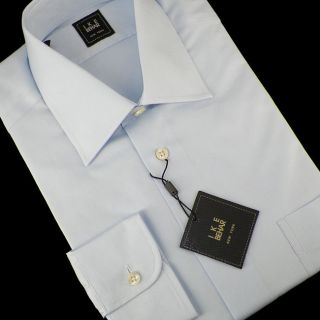 Ike Behar Solid Light Blue Cotton Dress Shirt 15 35