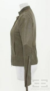 Improvd for Intermix Dark Green Topstitched Leather Asymmetric Zip
