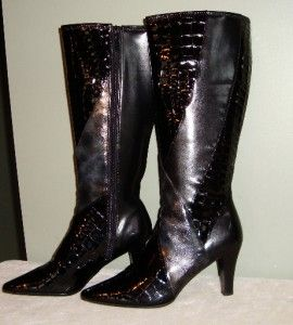 Impo Stretch Black Gray Croc Patent Pattern Tall Boots Size 8 Nice Pre