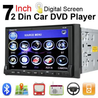 Double 2 DIN 7 in Dash Car DVD CD Player SWC Radio Bluetooth Touch