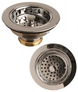 Polished Chrome Kitchen Sink Basket Strainer and Flange