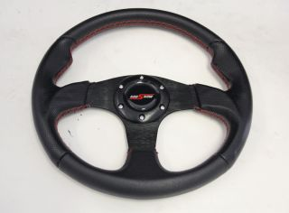 JDM Black 320mm Steering Wheel Red Stitch Horn Button INTEGERA CIVIC