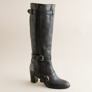 NIB J CREW Miller Motorcycle Tall Boots Shoes Extended Calf 9