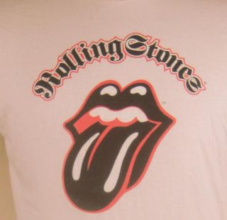 Rolling Stones Lips & Tongue Logo Mens T Shirt Large Beige Mick Jagger