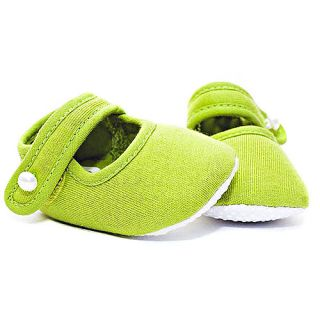 Trumpette Baby Girl Green Soft Sole Velcro Slippers 3