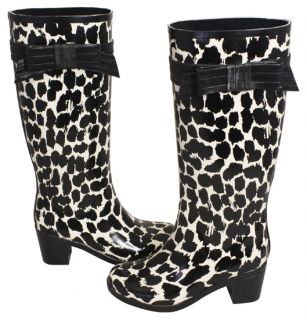 Kate Spade Randi Too Animal Print Rubber Rain Boots Shoes 9 New