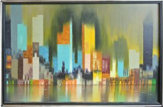 Modern Mod Vintage Oil Painting NYC Cityscape by James Sherman