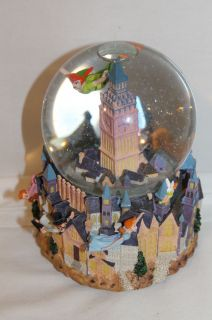 Disney Peter Pan Tinkerbell Musical Animated Snow Globe Works Great