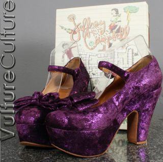 Jeffrey Campbell Wanted G Purple Convertible Bow Platform Mary Jane 9