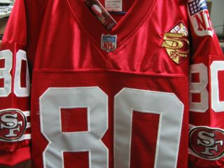 Throwback 80 Jerry Rice w 50th Patch Red sewn Jersey 50 New w Tags