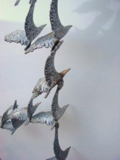 Original Curtis Jere Signed Metal Wall Sculpture Flock of Birds in