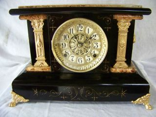 Antique Seth Thomas Black Mantle Clock Mfg 1898