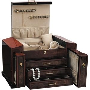 Large Handcrafted Wooden Jewelry Box Chest with Lock Unique Luxury