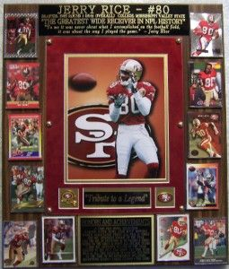 Jerry Rice 80 Hall of Fame NFL Greats Photo Plaque