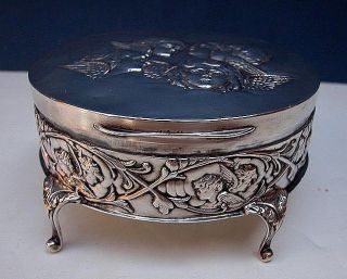 Art Nouveau Jewelry Box Footed with Hinged Lid Circa 1900