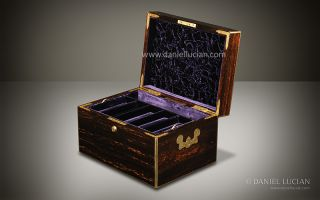 Antique Coromandel Jewellery Jewelry Box by Leuchars with Secret