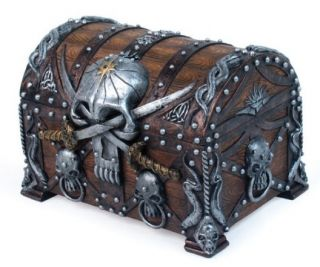 Jewelry Box Chest Crossed Blades Pirate Skull Bucaneer Statue Figurine