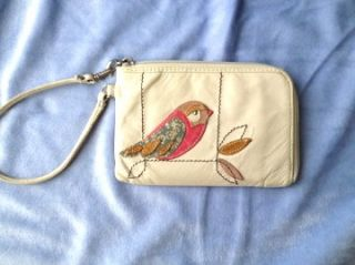 Fossil Jesse Candy Bird Glazed White Leather Wristlet Wallet Purse