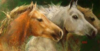 Gladys Morante Untitled Original Oil Painting on Canvas Horse on