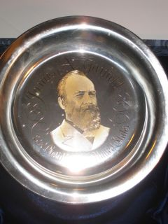 James A Garfield Sterling Silver Ed Franklin Mint Plate w 24KT Gold