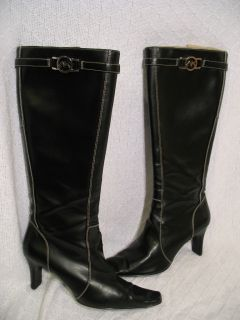 AK Anne Klein Black Leather Knee High Tall Fashion Heels Boots Zip