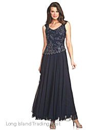 JKARA Mother of the Bride BLACK CHIFFON BEADED FORMAL GOWN Wedding