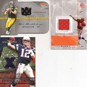 Tom Brady John Elway Ben Roethlisberger Lot of 3 Football Jersey Cards