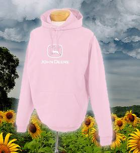 John Deere Pink Hood Shirt Yard Work Garden Lawn Outdoors Construction