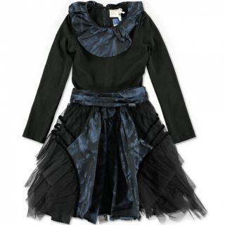 NWT Girls Gorgeous Jottum Senelle Blue Black Tulle Satin Dress sz 115 6 yrs