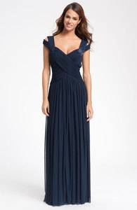 JS Collections NAVY BLUE Bead Embellished Crisscross Bodice Mesh Gown SZ 4 198