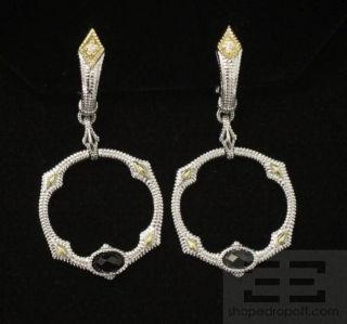 Judith Ripka Sterling Silver 18K Gold Onyx Diamond Earrings