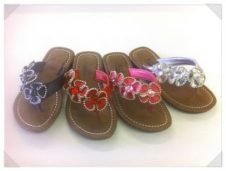 Cute Junior Girl Flip Flops Kids Flower Beach Flat Sandals VanillaJr