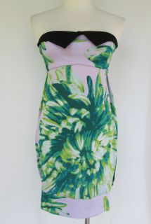 Just Cavalli Purple and Green Strapless Mini Dress Cocktail Size 38