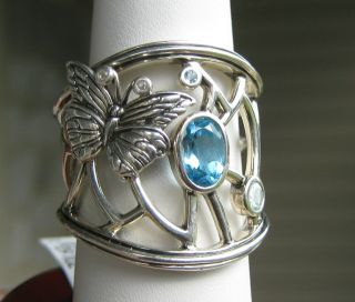 BARRY KIESELSTEIN CORD STERLING BLUE TOPAZ GEMSTONE BUTTERFLY RING