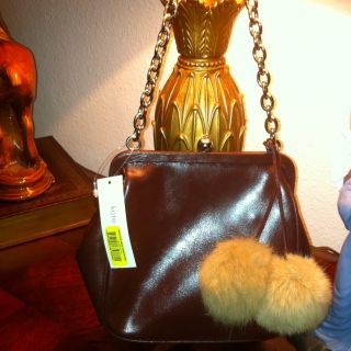 Kate Landry brown leather shoulder bag purse with fur Pom Poms & Chain