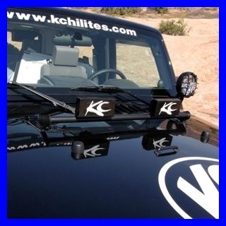 KC HiLites Front Light Bar 07 2011 Jeep Wrangler JK Black Hood Mount 2