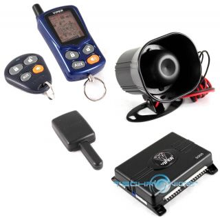 Way Car Security Alarm Keyless Entry System w LCD Pager Remote
