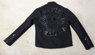 New $1935 King Baby Studio Wool Jacket Love Life Lamb Leather 925