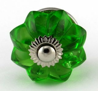 LG Green Glass Cabinet Knobs Kitchen Cupboard Drawer Pulls Melon