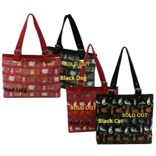 Kristine Dog Print Red Tote Handbag Perfect for Books or as A Pet Bag