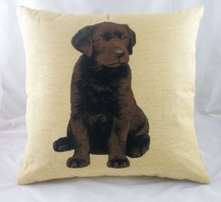 18 Chocolate Labrador Puppy Dog Tapestry Cushion