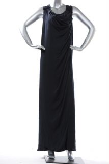 BCBG Max Azria Dark Navy Satin Draped Long Dress JUF6K316 $328 Sz 0