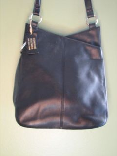 Laura Scott Black Soft Leather Shoulder Bag Purse Tote