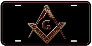 Masonic Mason Black Aluminum Car Novelty License Plate