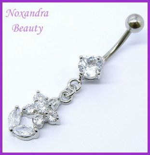 CZ Steel Navel Belly Ring Body Piercing Jewelry BR7030