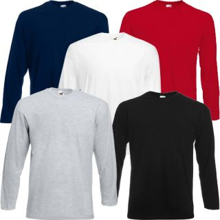 Fruit of The Loom Long Sleeve T Shirt Pack of 3